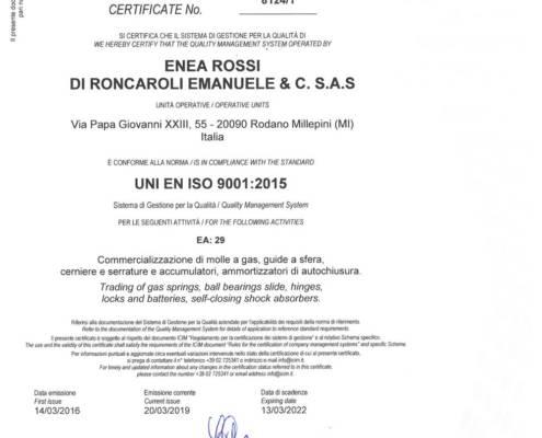 ISO 90012015 Enea Rossi certificazione