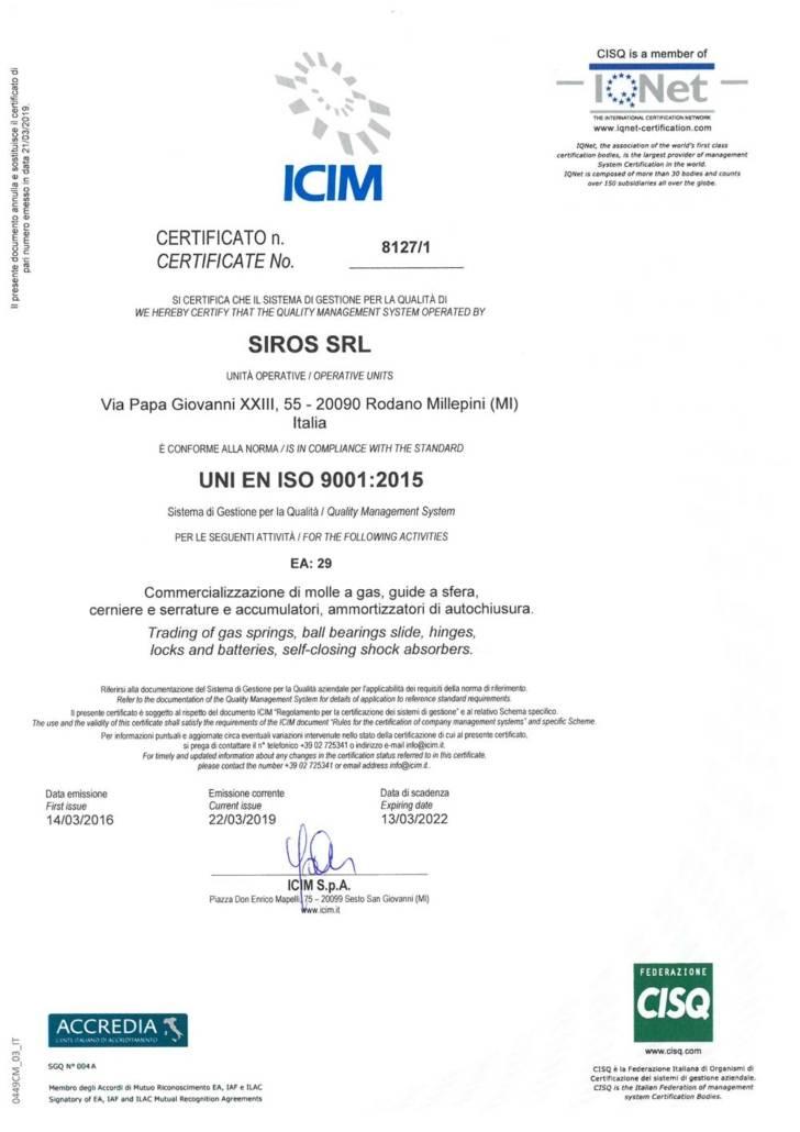 ISO 90012015 Siros Certificazione